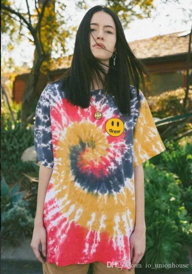 Sıcak satış mükemmel unhs Justin Bieber Drew Evi tee Yaz Kısa Kollu Casual Hip Hop Sokak Kaykay T-shirt erkekler kadınlar