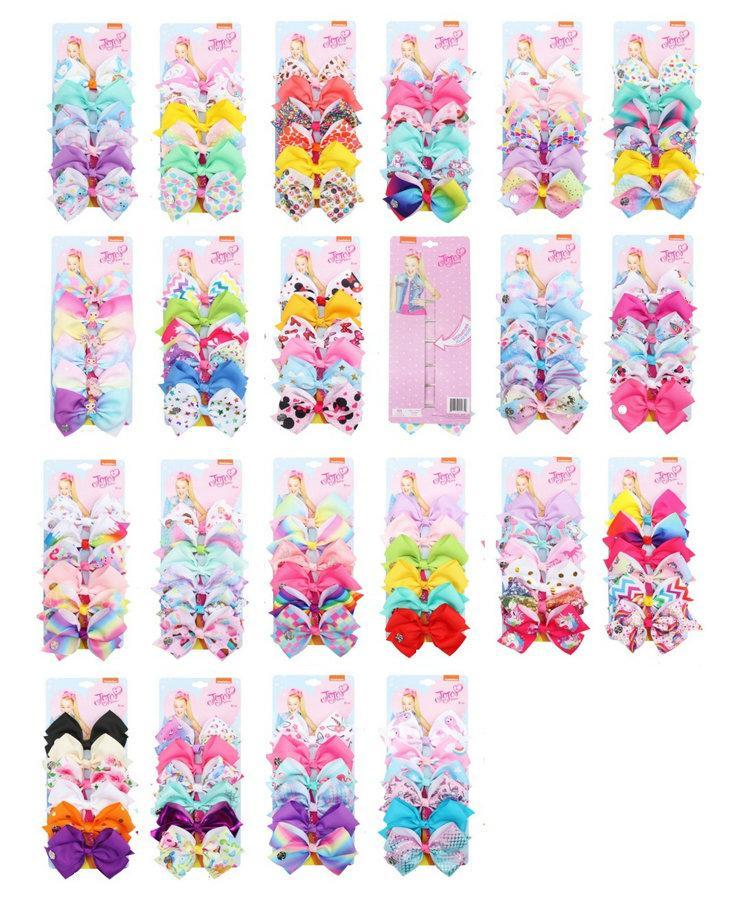 """126 Color 5 """"Cabello Bow Girl Color Color Color Color Color Cool Baby Accesorios para el cabello Unicorn Jojo Siwa Arcos 6pcs / Embalaje de tarjetas"""
