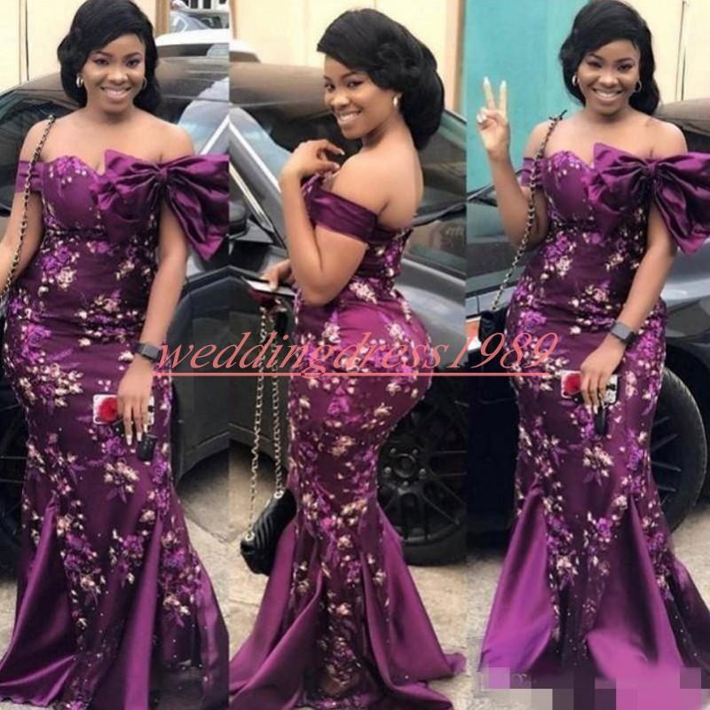 Florale élégante africaine sirène robes de soirée Bow Encolure 2020 Plus Size Prom Formal Pageant Robes Robe de noche Party Pageant