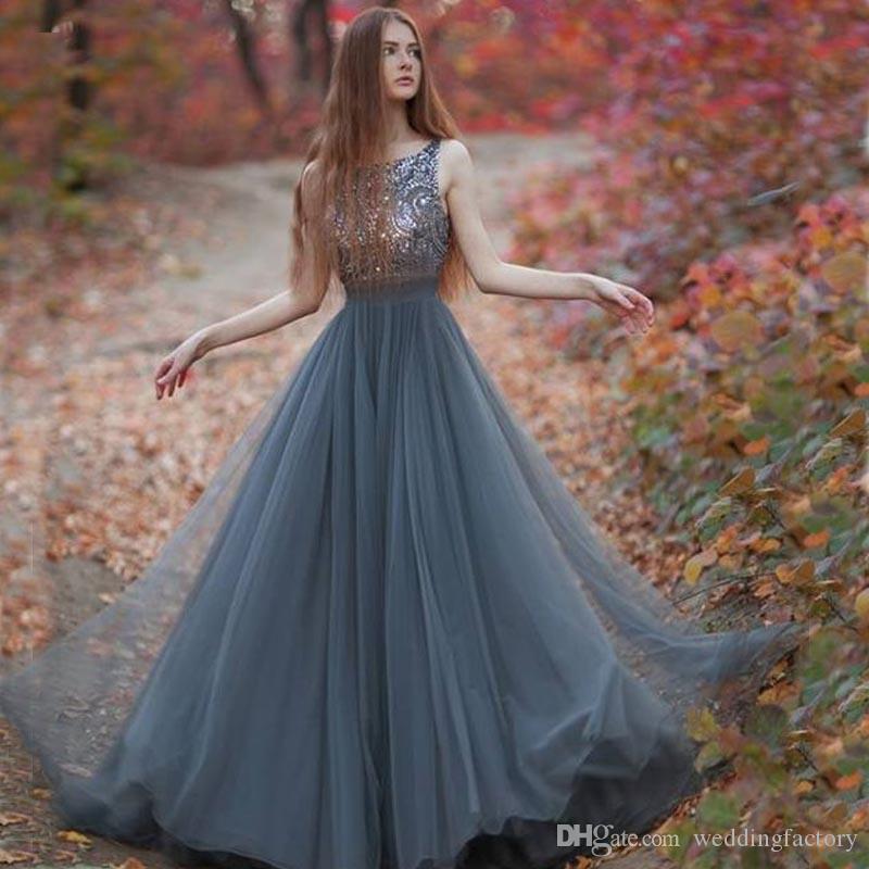2020 봄 먼지가 많은 파란색 긴 댄스 파티 드레스 바투 넥 민소매 파란색 스팽글 최고 얇은 명주 그물 스커트 바닥 길이 이브닝 파티 가운 사용자 정의
