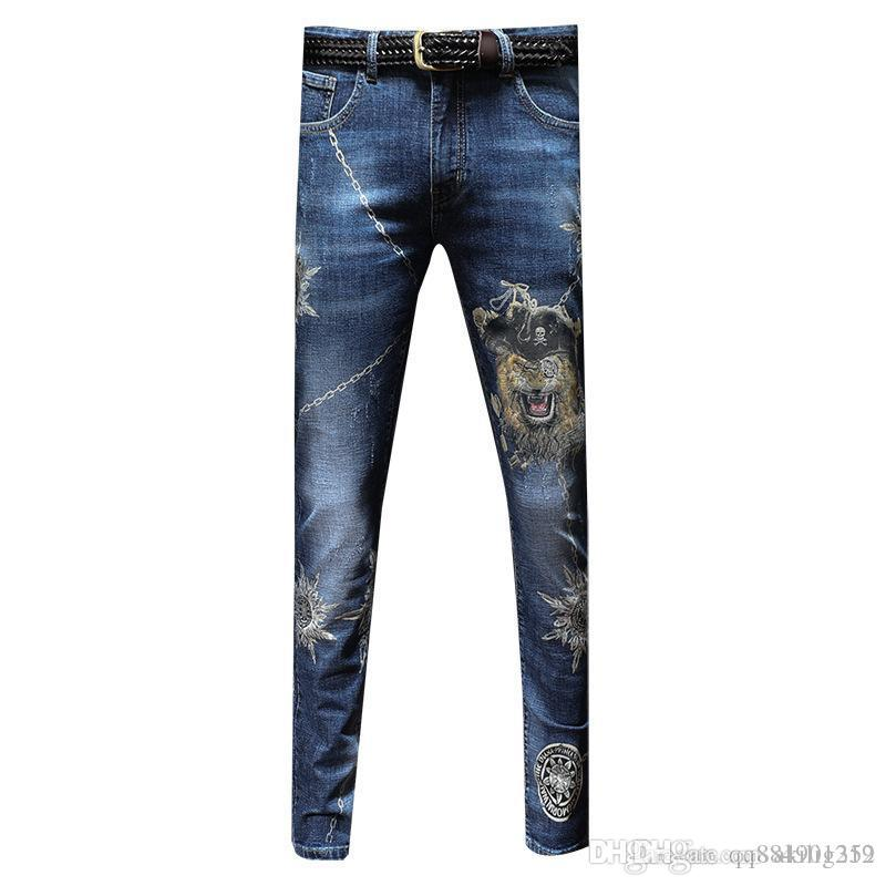 2019 Autumn New Jeans Men's Personality Trend Laser Printing Handsome Feet Trousers Casual Men's Jeans SIZE 28-34 Men's Jeans
