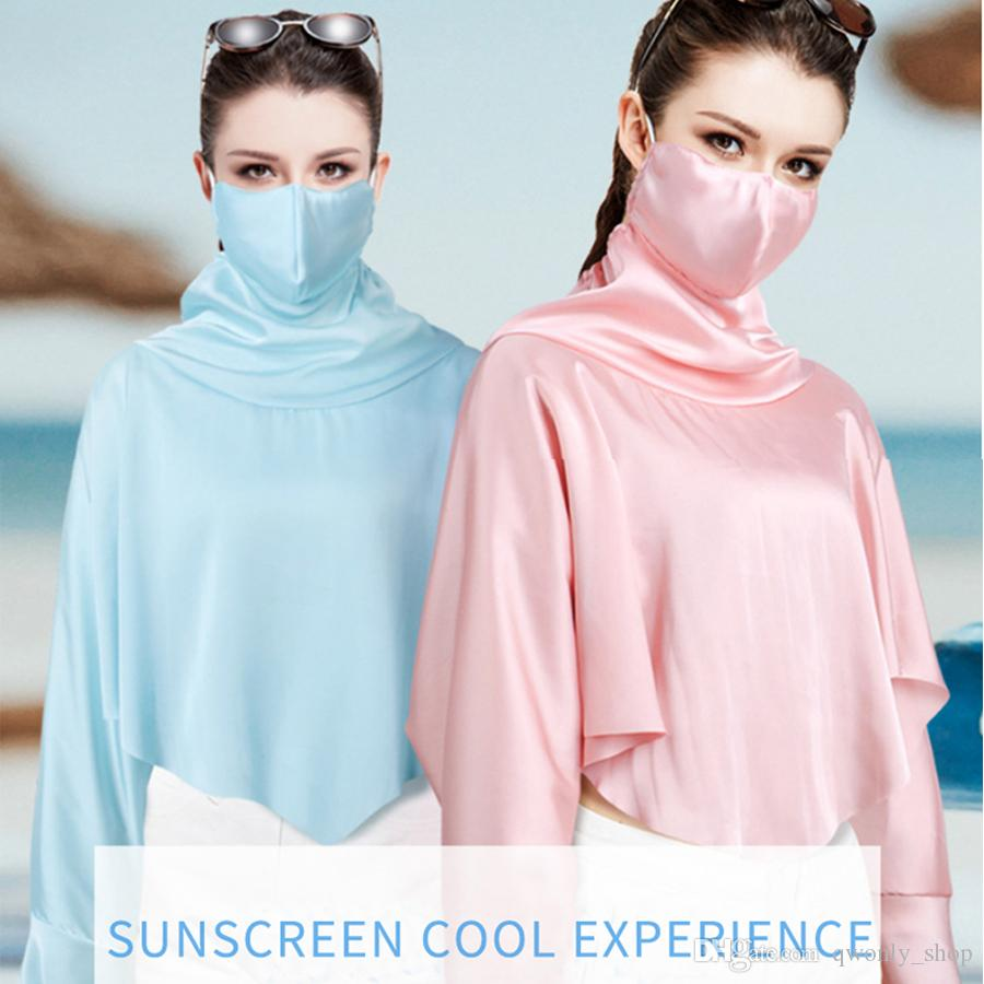 Outdoor Mouth Face Mask Women Anti Dust UV Protection Neck Mask Real Silk Shawl Sunscreen Tops Clothing 6 Colors