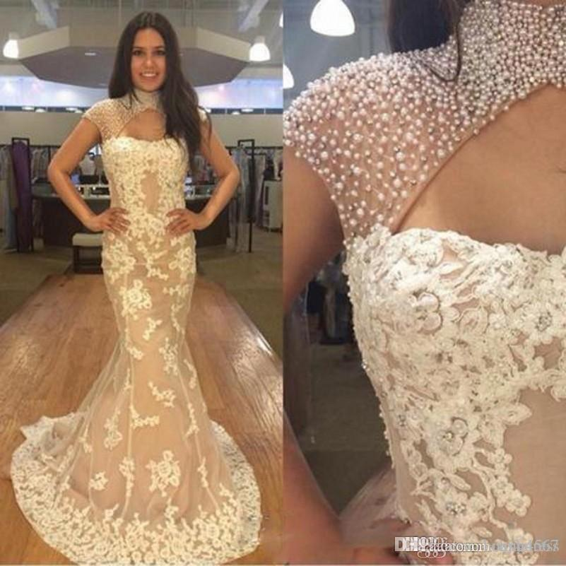 2019 New Pearls Beaded High Neck Prom Dresses South African Lace Mermaid Evening Gowns Cap Sleeves Cocktail Party Dress Vestidos