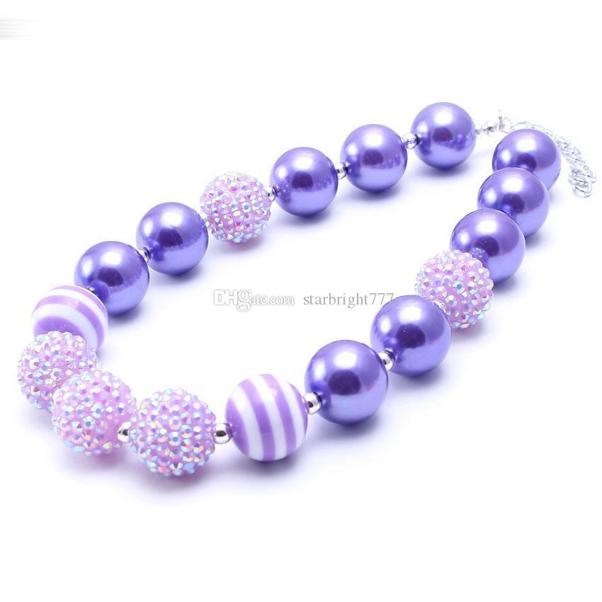 Beatiful conception 2pcs Collier de fête d'anniversaire cadeau pour Bébés Filles perles Bubblegum bébé enfants Chunky Bijoux Collier