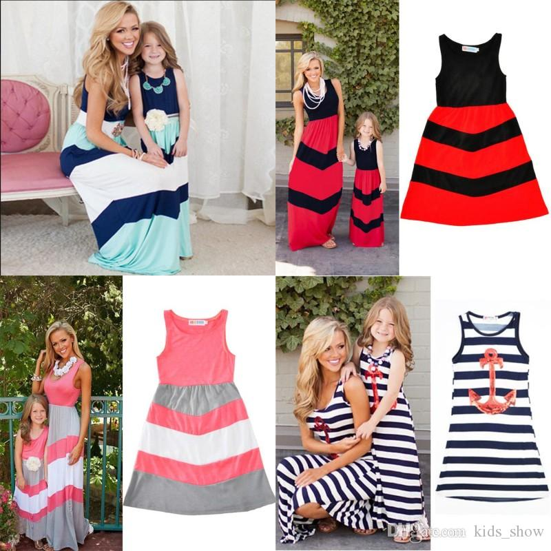 Striped Mom Girls Dress Mother Daughter Sleeveless Dress Vest Dress Summer Family Matching Outfits Mommy and Me Clothes
