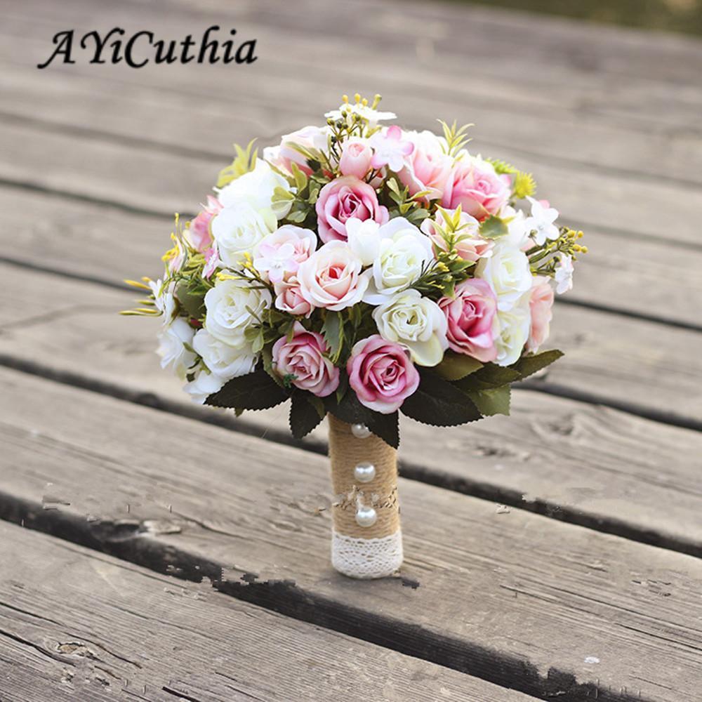 Ayicuthia Handmade Artificial Flower Rose Buque Casamento Bridal Bouquet For Wedding Decoration Ramos De Novia C19041701