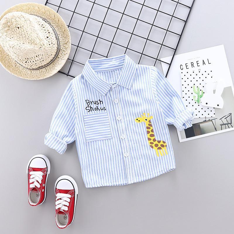 2019 Fashion Autumn Clothing Children Baby Giraffe Shirt One-Piece Childrenswear Striped Shirt Base Shirt