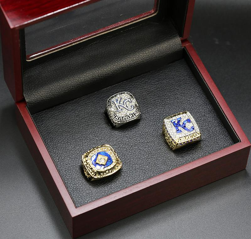 3pcs / set 1985 2014 2015 Kansas City Royale Championnat du monde de baseball de gros anneau Drop Shipping
