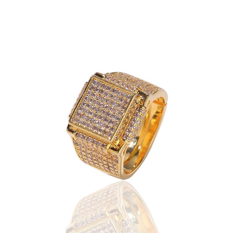 Bling leced Out Золотые кольца Мужские хип-хоп рэпер Ювелирные Изделия CORE CZ Камень Deisnger Men Hiphop кольца