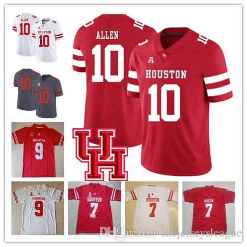 Houston Cougars #2 DJ Hayden 4 Kevin Kolb 10 Kyle Allen 9 Nick Watkins Best Stitched Red White NCAA College Football Jerseys S-4XL