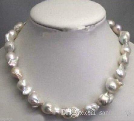 """Freier Verschiffen Großhandelspreis 16new ^^^^ Große echte 15-23mm natürliche weiße barocke Perlen-Halskette 18 """"Schmucksachen"""