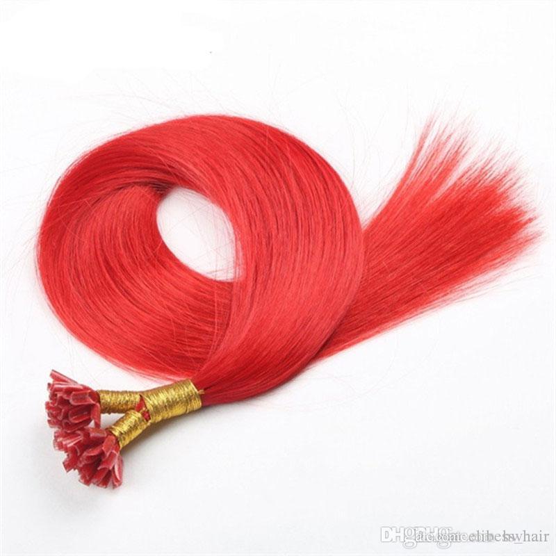 яркий цвет острог красный фиолетовый зеленый серый желтый цвет блондинка Remy бразильянина гвоздь Подсказка наращивания волос
