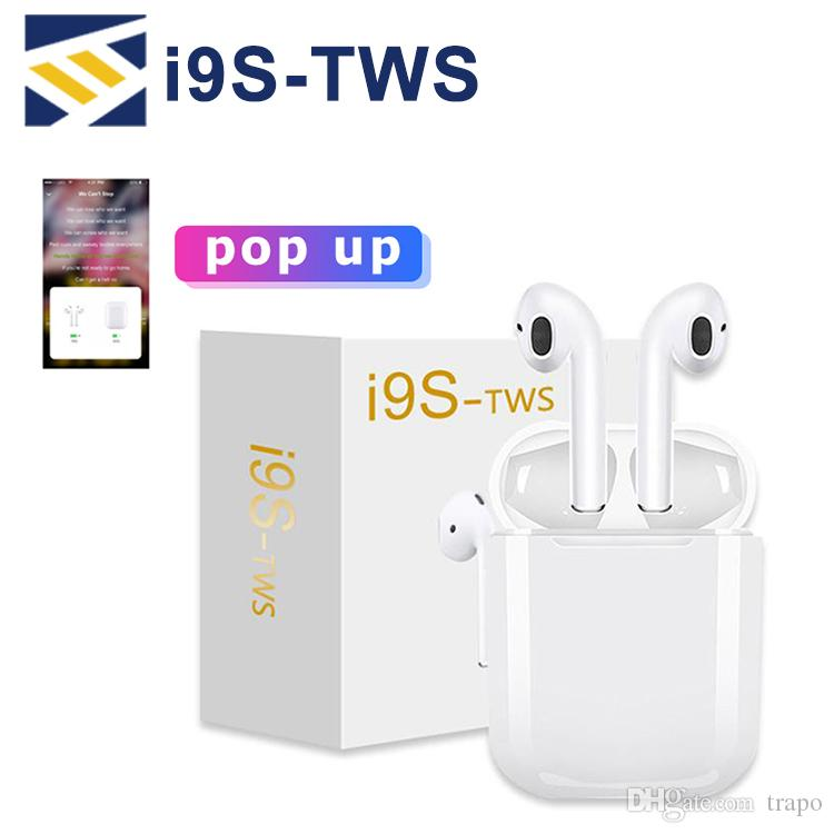 I9S TWS wireless bluetooth headphones headset air wireless earphone pods ture stereo magnetic charger box for smartphone PK i7s tws airpod