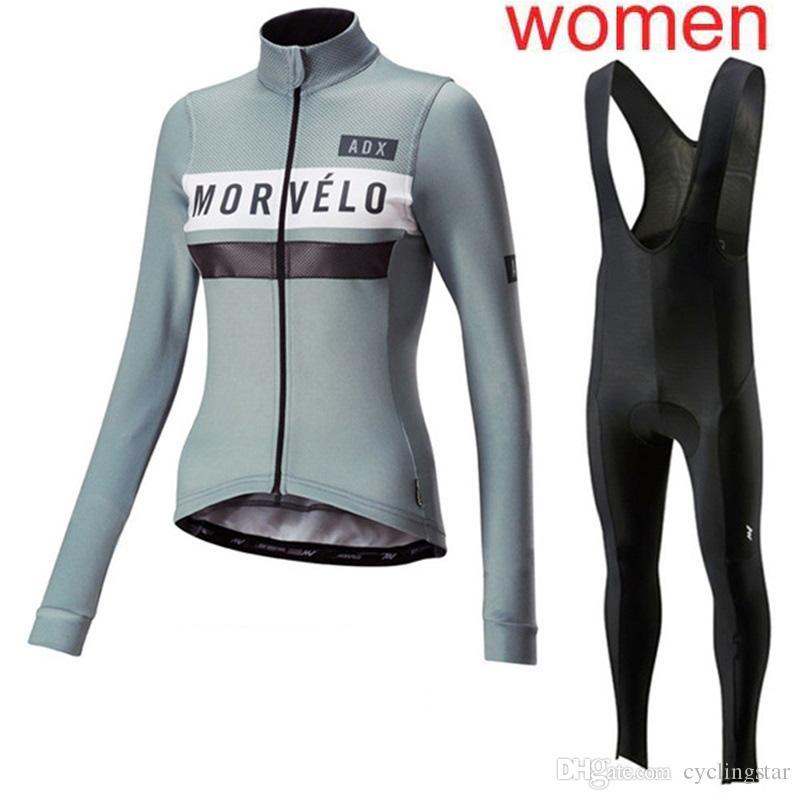 2019 donna ciclismo set Jersey Morvelo primavera autunno maniche lunghe abbigliamento da corsa traspirante quick dry mtb sport bicicletta vestito 112902Y