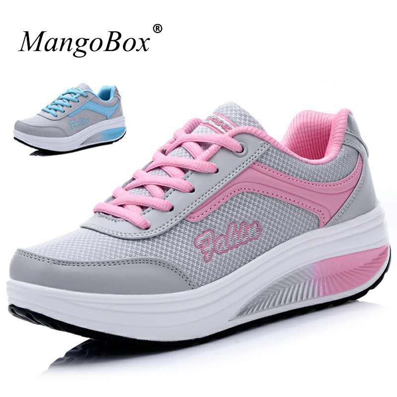 Mangobox 2020 Nueva zapatos de la mujer que caminan del deporte zapatillas de deporte Hight aumento de zapatos de tonificación cuña de las señoras Calzado para adelgazar Deporte Formadores