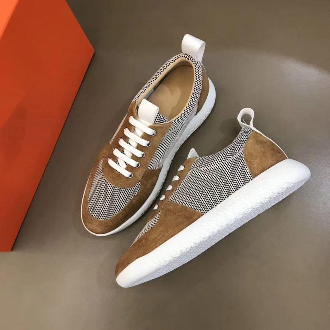 2020 New H Top Sneakers en cuir de vache Mode Hommes confortables chaussures plates Casual chaussures hautes kjm05