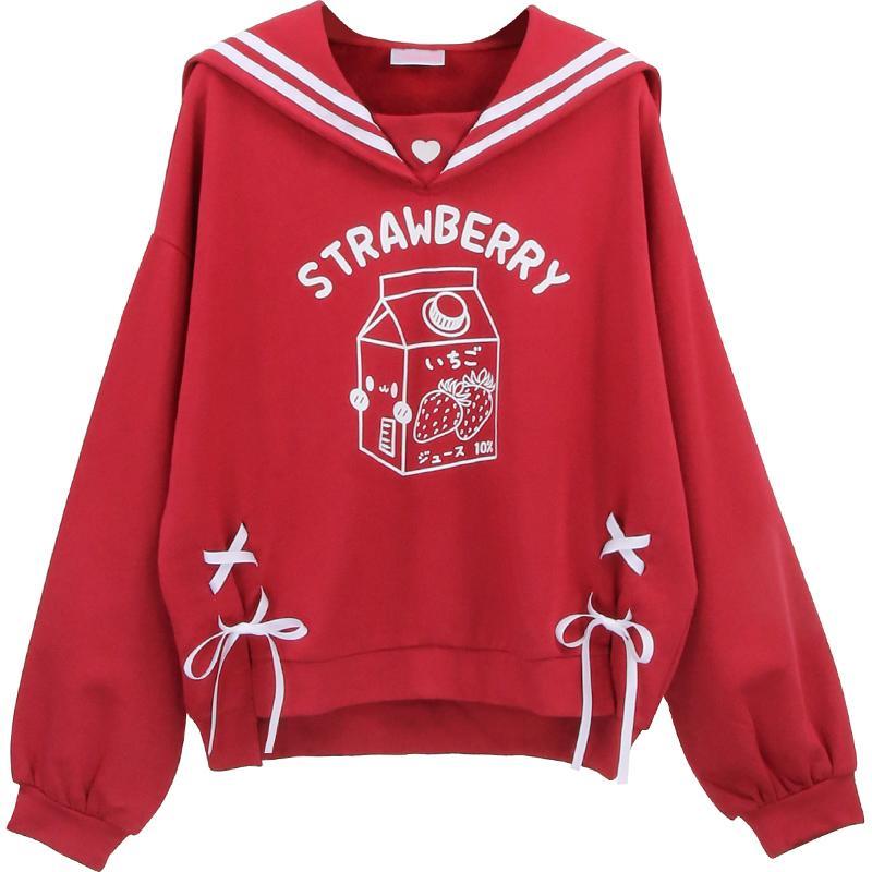 Lolita Douce femmes Rouge japonaise Sweat-shirt Kawaii Strawberry chat filles graphiques lacent Femme Cute Anime chaud Toison