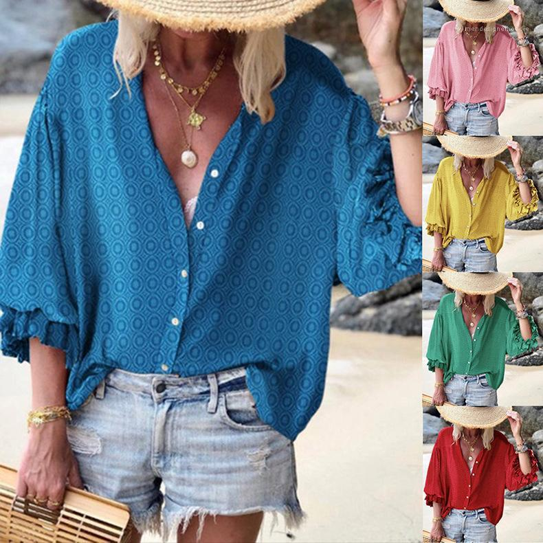 جولة الرقبة مطبوعة قميص واحدة اعتلى طويل فضفاض الأكمام Famale عارضة السيدات قميص مصمم ملابس النسائية