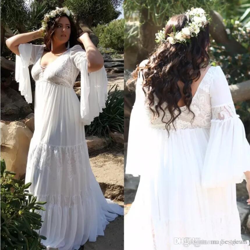 2019 plus size vestidos de casamento de praia com decote em v mangas compridas bohemian vestidos de noiva a line até o chão vestido de casamento grávidas vestidos de novia