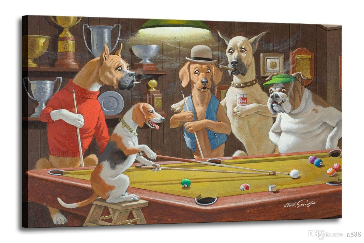 Arthur Sarnoff Dogs Playing Pool-2 Home Décor peint à la main HD Imprimer Peinture à l'huile sur toile Wall Art Grand Photos 191103