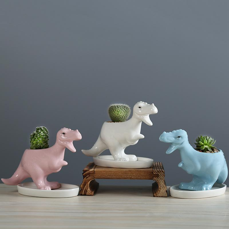 Ceramic Flowerpot Tyrannosaurus Rex Creative Succulent Pot with Tray Blue Dinosaur Children Small Gift Cartoon Gardening Tabletop Decoration