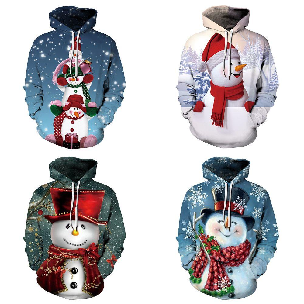 4 색 남녀 공용 S-5XL 3D 눈사람 크리스마스 인쇄 후드 여성 / 남성 풀오버 쿨 유행 Sweatshir