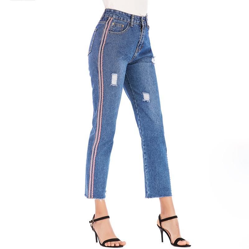replicas nuevo estilo de vida varios colores Compre 2019 Cinta Europea Pantalones Vaqueros Rotos Jeans De Mujer Cintura  Alta Azul Oscuro Lavados Pantalones Rectos Pantalones Femeninos Denim De ...
