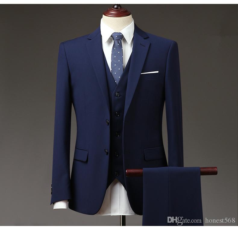 Bonito Notch lapela Groomsmen Dois Botões Do Noivo Smoking Ternos Dos Homens de Casamento / Baile / Jantar Melhor Homem Blazer (Jacket + Pants + Tie + Vest) 033