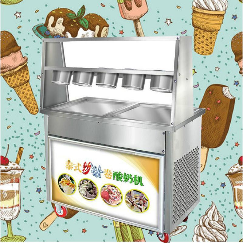Commercial fried ice machine 220V desktop disc fried ice cream machine stainless steel ice yogurt roll two pots and five bowls