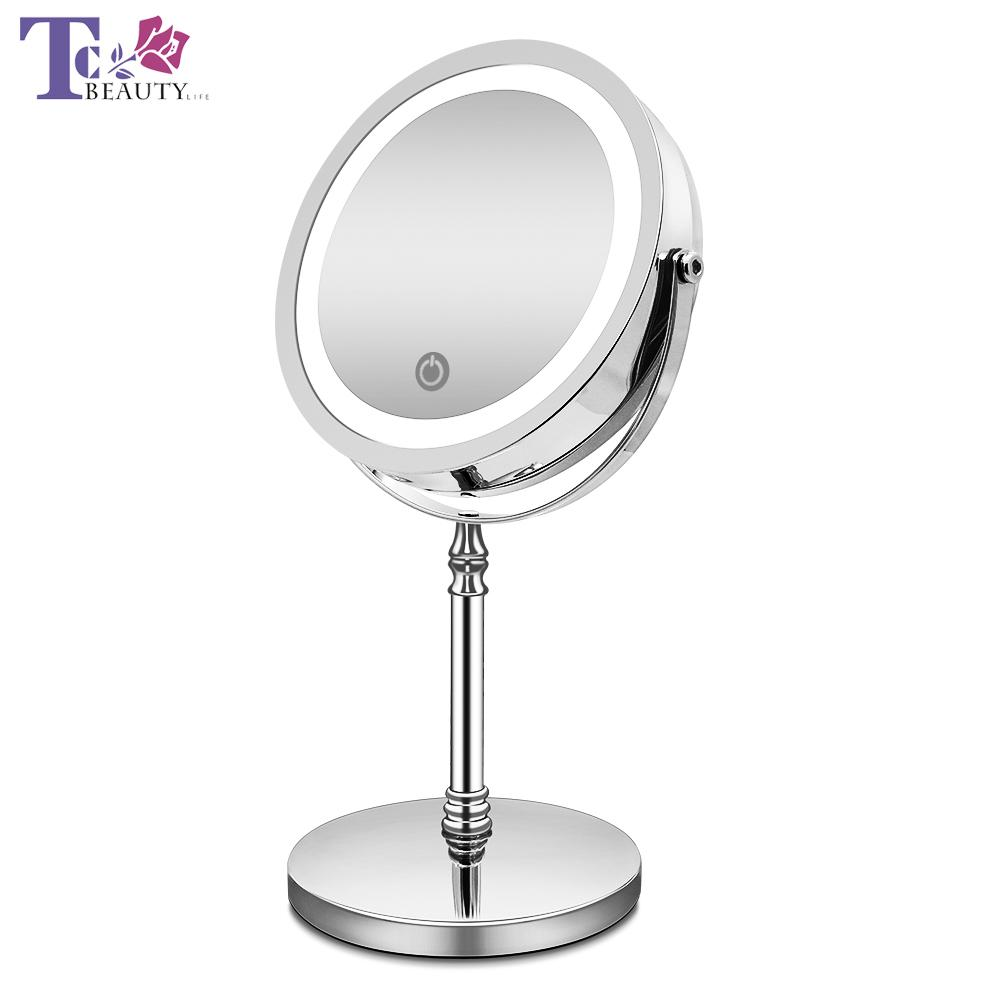 Makeup Mirror with Lights 10X Magnification Double Sided Vanity Mirror USB Charging Touch Dimming Bath Mirrors Christmas Gift T200114