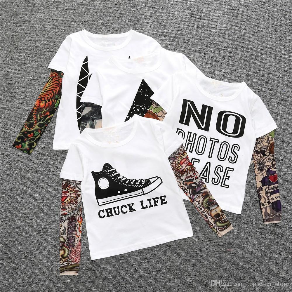 16 Конструкций Лето футболка хлопок мальчиков одежда повседневная детская детская одежда татуировки печати с длинным рукавом футболки малышей детей топ тройники 1-5year