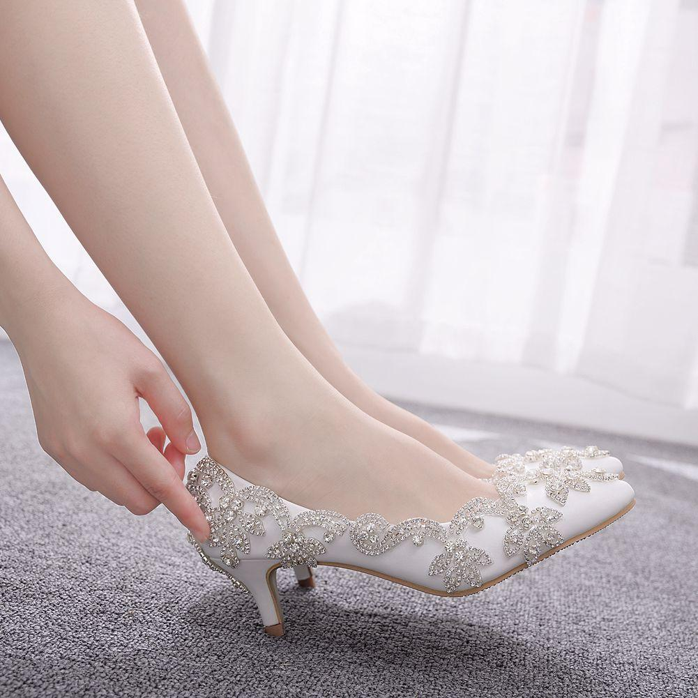 Женщины Свадебная обувь на низком каблуке White Diamond Блестящие вечернее платье невесты обувь Кристалл насосы большой размер 43