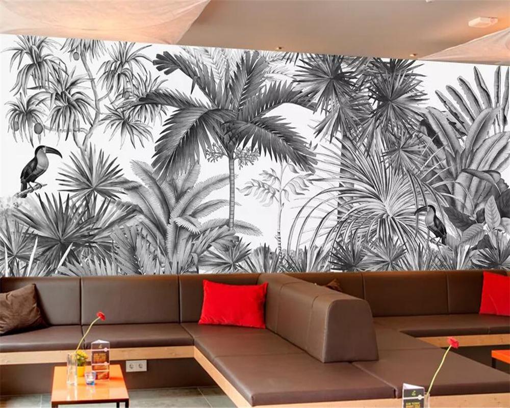 Beibehang Özel duvar kağıdı Avrupa Vintage Elle boyanmış Siyah ve beyaz Coot Tufts Jungle Duvar TV arka plan duvar kağıdı 3d
