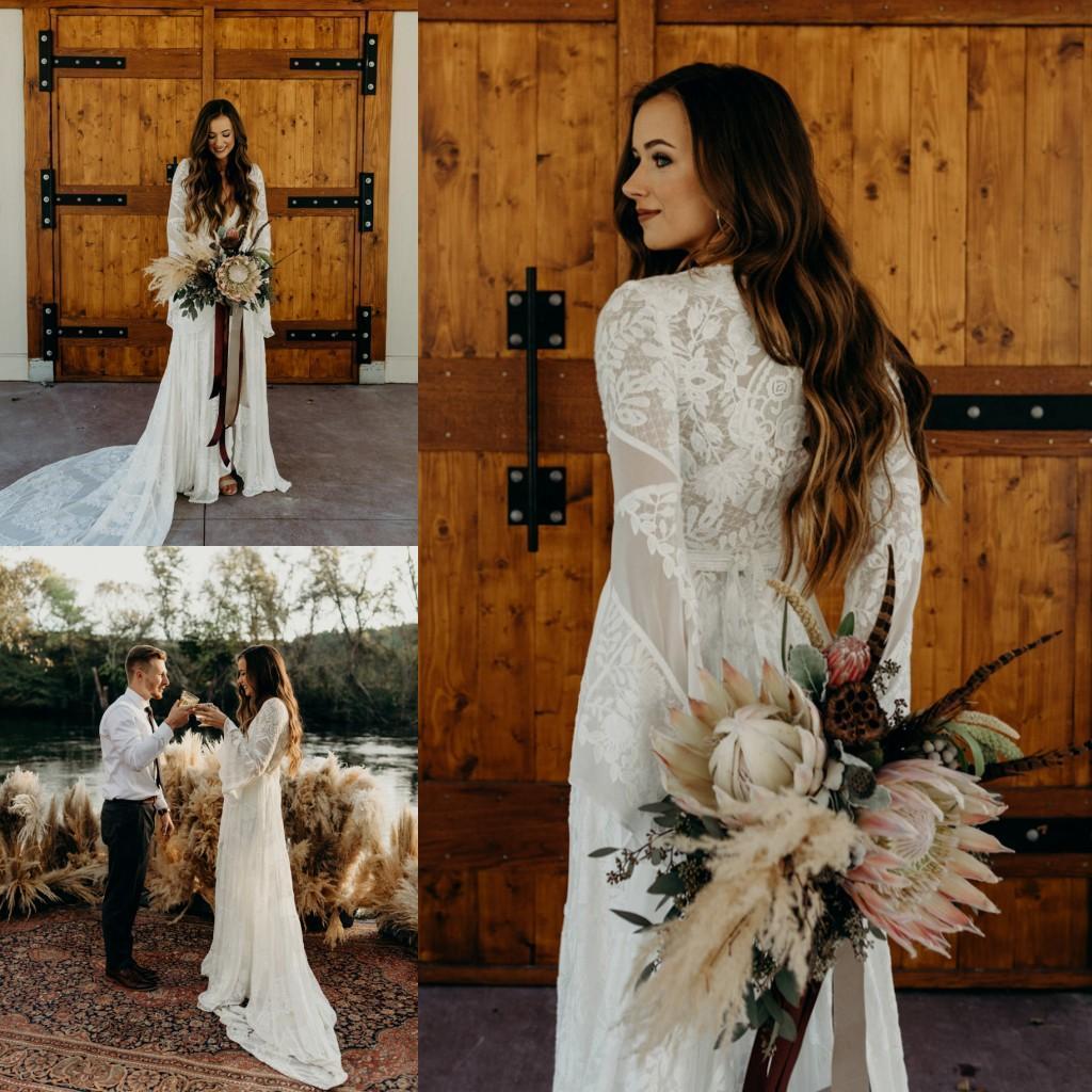 Bohemian Lace A Linha do casamento Vestidos manga comprida chiffon até o chão Side Dividir Praia Boho do vestido de casamento vestidos de noiva Vestidos de noiva