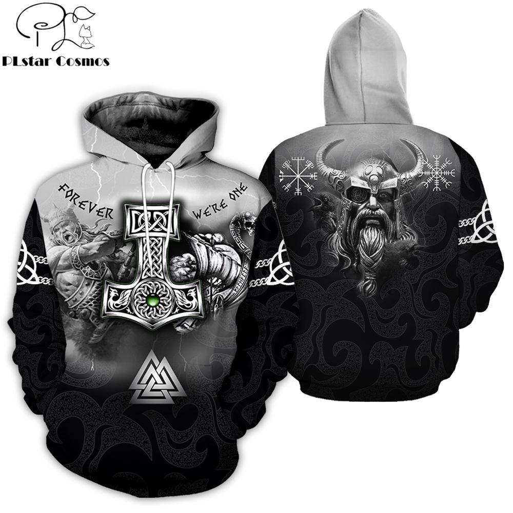 PLstar Cosmos 2019 nuevos hombres sudaderas tatuaje de Viking 3D Por todas partes Impreso Odin con capucha ropa informal unisex con capucha streetwear LY191205