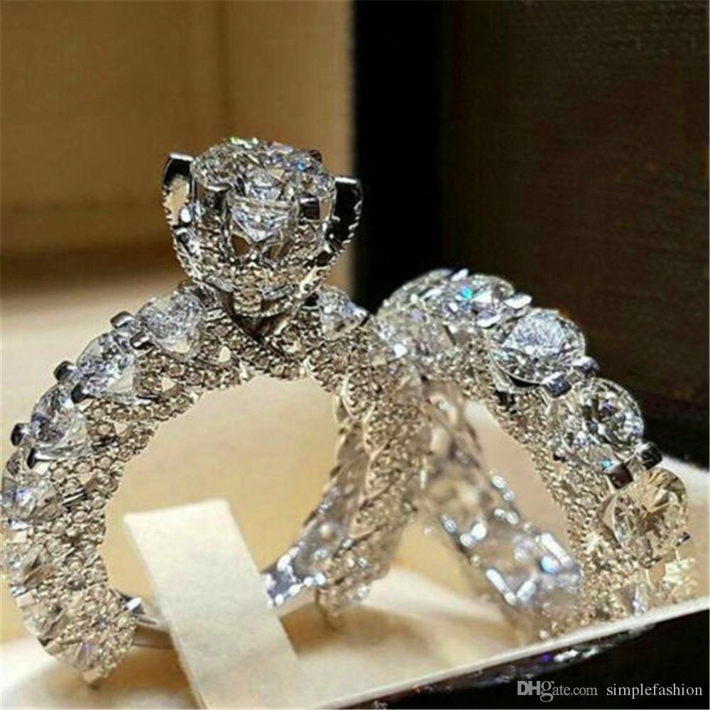 Vecalon أنثى الماس خاتم الزفاف مجموعة أزياء 925 الفضة اطقم مجوهرات وعد الحب خواتم الخطبة للنساء
