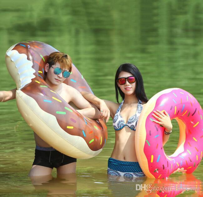 verão vida bóia Toy Água 48 polegadas Gigantic Donut natação Flutuador inflável natação Anel Adult Pool Floats 2 cores balsa flutuante