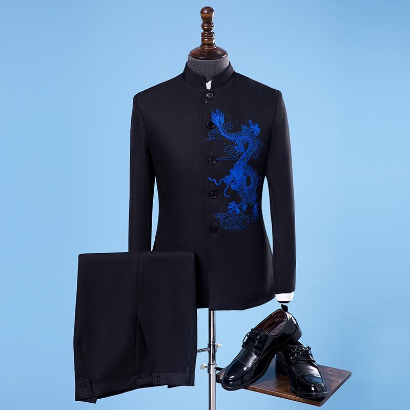 Marca abiti da uomo collare del basamento ricamato drago cinese tunica Suit Maschio Tuxedo stile cinese del vestito da sposa Jacket + Pants