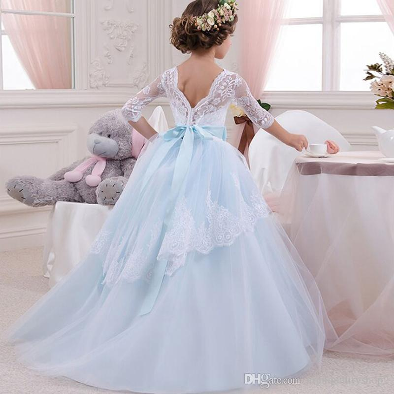 Lace Flower Girl Dresses For Weddings 2018 Blue Kids Evening Dress Layered Holy Communion Dresses Children Pageant Gowns 6 14 Y