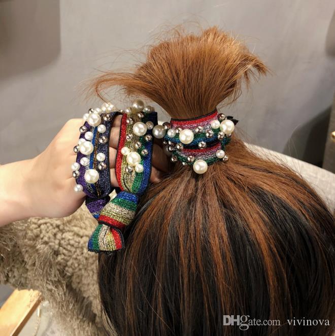 Небольшие свежие аксессуары для волос ветер радуга жемчужные волосы веревка голова галстук волосы леопарда зерна мяч скальп