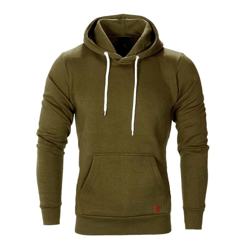 New Autumn Winter Mens Long Sleeve solid color pocket Drawstring Casual Sweatshirt Brand leisure Hoodies slim pullover