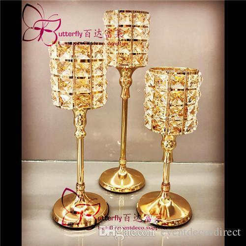 3 Unids Cristal Mesa de Metal Tealight Votive Cylinder Gold Candle Holder Centros de mesa de boda