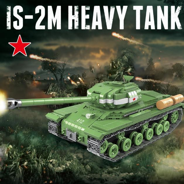 1068PCS Soviet Russia IS-2M Heavy Tank Building Blocks WW2 Military Tank Soldier Police Weapon figures Bricks Toys for kids boys