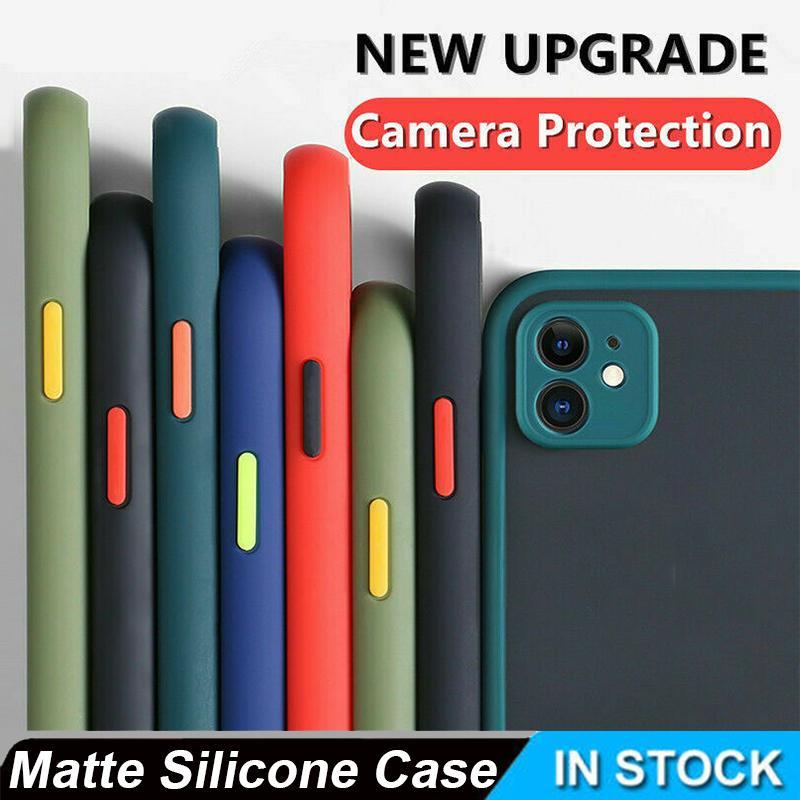 Para iPhone 11 Pro XR 8 cubierta protectora del lente de la cámara 7 Caso híbrido mate de silicona para el iPhone 11 11Pro 11 Pro máximo