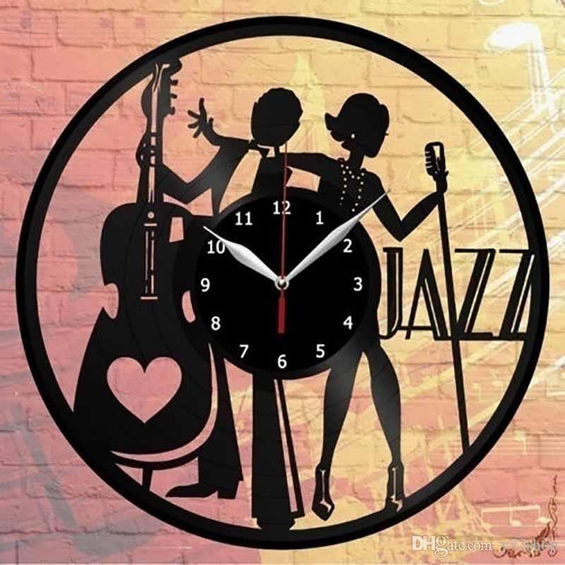 Джаз Винил настенные часы Декор Искусство Главная Handmade Джаз Винил настенные часы декора Art Home ручной работы