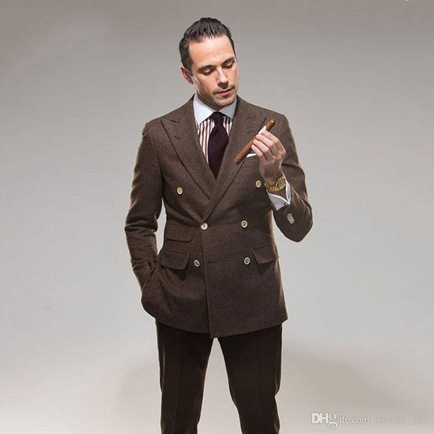 Chaqueta de tweed de doble botonadura marrón Chaqueta de hombre Traje de boda formal para hombres Traje de negocios clásico de 2 piezas para hombre Ternos masculino
