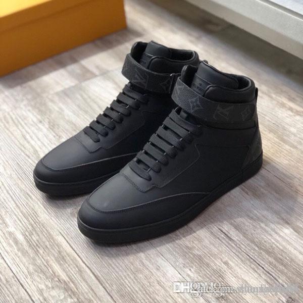 2020 Nouvelle arrivée Fashion Sneakers Bottes arc-en-Sneakers Véritable Calfskin homme Bottes Haut-Top Sneaker Motif floral