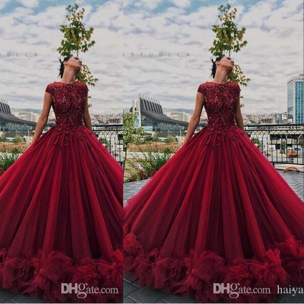 Frisada Cap Borgonha vestido de baile Vestidos de baile Illusion Lace Applique de cristal mangas Ruffles Tulle Puffy personalizado Plus Size vestidos de noite formais