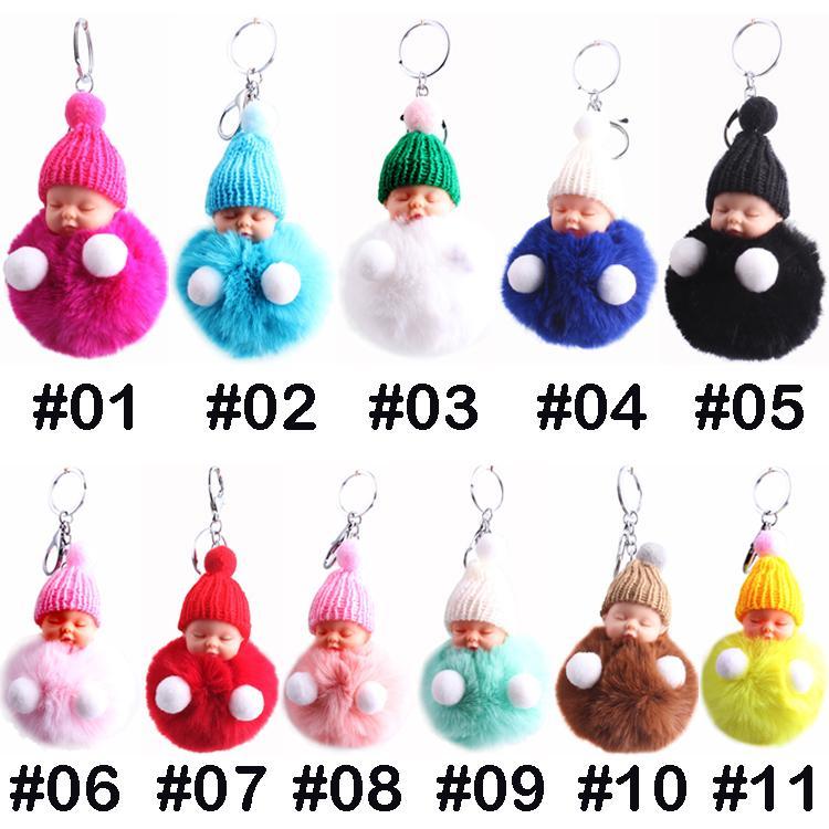 Sleeping Doll keychain 11 color Cartoon Pom pendant Backpack Shoulder Bag Hanging Car Key Ring Pendant Cute Kids Toy gift Wholesale BJJ13