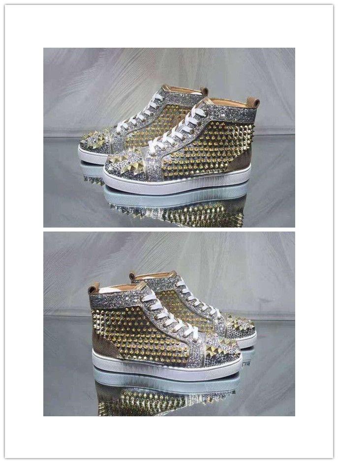 Элегантный дизайнер High Top Шипы Кроссовки Обувь Gold Кожа женщины Mens Red Bottom Shoes Party Свадебная обувь фабрика оптовая